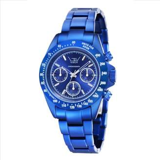 LTD Watch Aluminium Collection Unisex Quartz Watch with Blue Dial Chronograph Display and Blue Bracelet LTD 071901