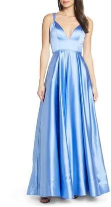Mac Duggal Beaded Strap Satin Evening Dress