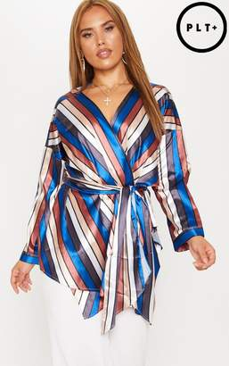 PrettyLittleThing Plus Multi Stripe Satin Tie Waist Top