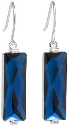 Distributed by Target Silver Plated Brass Rectangular Dark Blue Crystal Drop Earrings