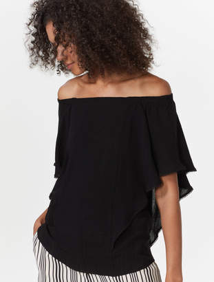 e7676127ff7400 Halston Flutter Sleeve Off Shoulder Top