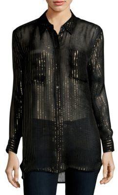 EquipmentPoint-Collar Silk-Blend Casual Button-Down Shirt