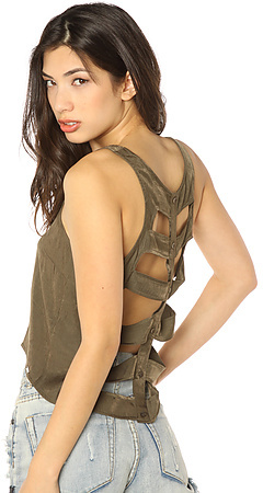 Obey The Sonics Cutout Top in Dusty Army