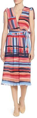 Catherine Malandrino Mickey Multi-Stripe Midi Dress