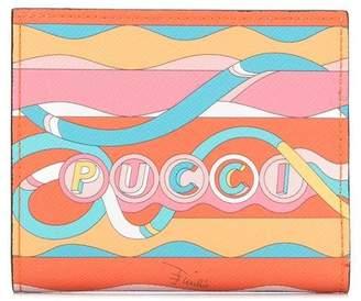 Emilio Pucci Pink And Orange La Villa Print Mini Wallet