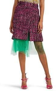Prada Women's Logo Wool Tweed Wrap Skirt - Pink