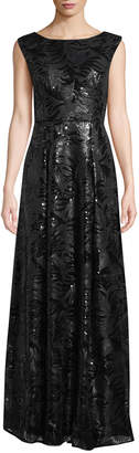 Karl Lagerfeld Paris Sleeveless Sequined Lace Gown