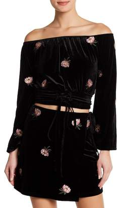 Honeybelle Honey Belle Off-the-Shoulder Velvet Embroidered Top