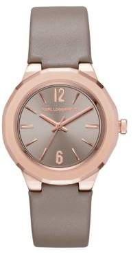 Karl Lagerfeld Paris Joleigh Rose Goldtone Three-Hand Leather Strap Watch