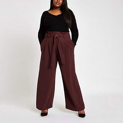 Womens Plus burgundy wide leg belted trousers