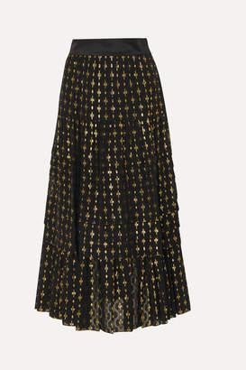 Temperley London Suki Tiered Satin-trimmed Metallic Fil Coupé Chiffon Skirt - Black