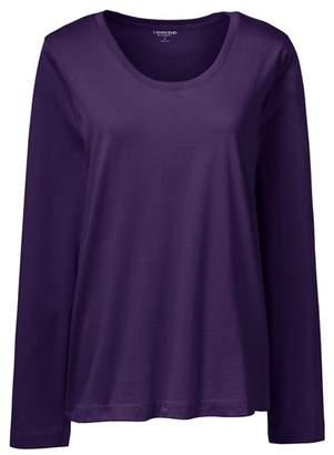 Lands' End Purple Petite Scoop Neck Supima T-Shirt