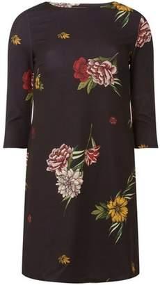 Dorothy Perkins Womens Black Floral Print Shift Dress