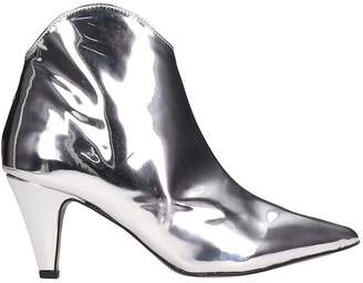 Rebecca Minkoff Silver Patent Leather Pamela Ankle Boots