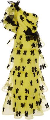 Rodarte One-Shoulder Bow-Embellished Tulle Gown Size: 4