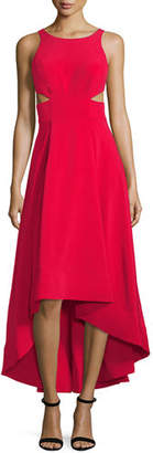 Aidan Mattox Cutout Stretch Crepe High-Low Gown
