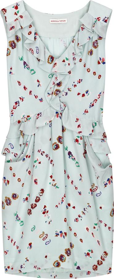Rebecca Taylor Ruffle printed silk dress