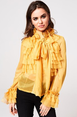 Little Mistress Lesa Yellow Frill And Pussybow Blouse