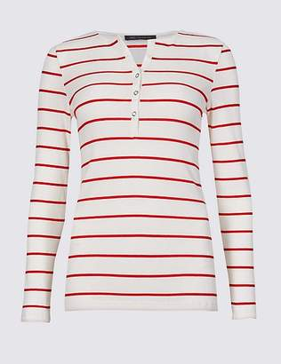 Marks and Spencer Cotton Blend Striped Long Sleeve Top