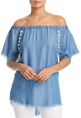 Billy T Lace-Up Off-the-Shoulder Top