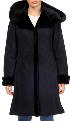 Gorski Suede Shearling-Trim Hooded Short-Coat