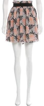 Ganni Printed Pleated Mini Skirt w/ Tags