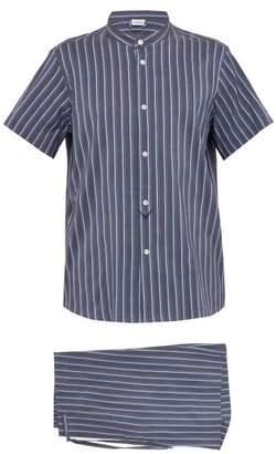 Zimmerli Striped Cotton And Silk Blend Pyjama Set - Mens - Dark Blue