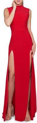 Mac Duggal Ieena for High-Neck Sleeveless Double-Slit Jersey Gown