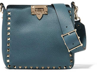 Valentino Garavani The Rockstud Mini Textured-leather Shoulder Bag - Turquoise