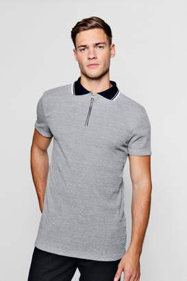 boohoo Slim Fit Marl Ribbed Polo With Contrast Collar