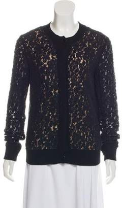 Chloé Lace-Accented Lightweight Cardigan
