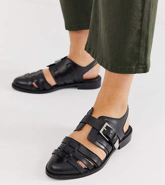 Asos Design DESIGN Wide Fit Minister leather cut out flat shoes