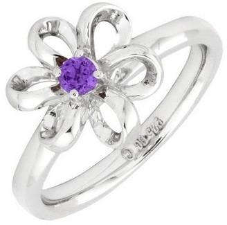 Simply Stacks Sterling Twisted Petals GemstoneFlower Ring