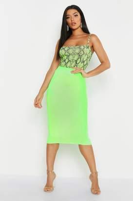 boohoo Croc Embossed Midi Skirt