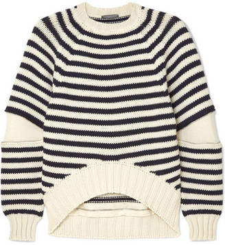 Alexander McQueen Zip-embellished Striped Wool Sweater - Navy