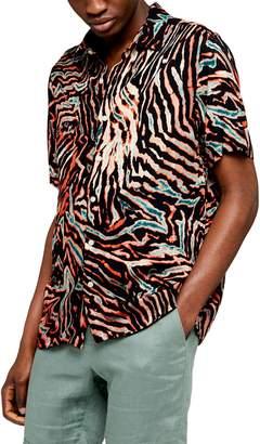 Topman Slim Fit Bleach Tiger Print Short Sleeve Button-Up Shirt