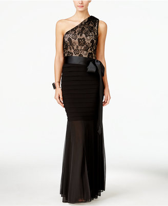 B&A By Betsy and Adam Lace One-Shoulder Mermaid Gown $129 thestylecure.com