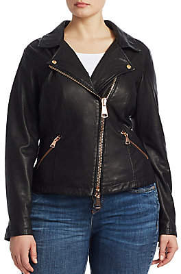 Marina Rinaldi Ashley Graham x Ashley Graham x Women's Ebanista Leather Biker Jacket