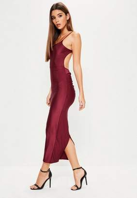Missguided Burgundy Ribbed Backless Ruched Back Midi Dress