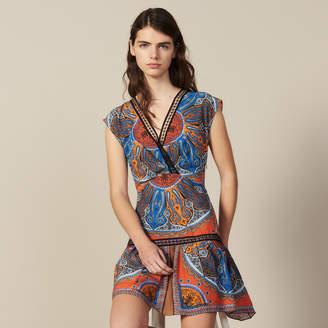 Sandro Short Printed Dress With Ruffles
