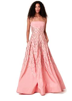 Oscar de la Renta Fishnet Embroidered Silk-Faille Gown