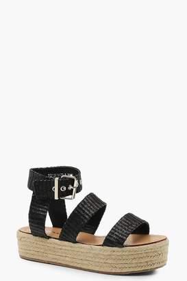 boohoo Woven Triple Band Espadrille Flatform Sandals