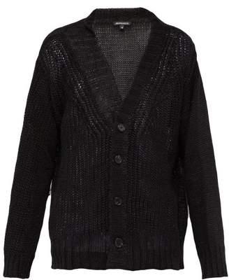 Ann Demeulemeester V Neck Loose Knit Linen Cardigan - Mens - Black