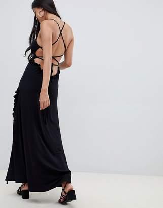 Asos DESIGN lace up maxi dress with ladder trim