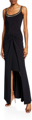 Chiara Boni Kinga Beaded Scoop-Neck Sleeveless Gown w/ Knotted Skirt Overlay