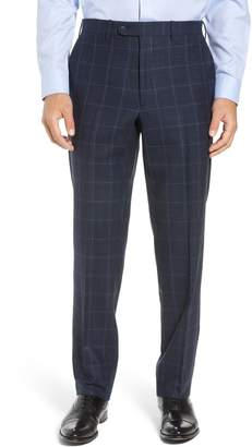 John W. Nordstrom R) Torino Traditional Fit Flat Front Plaid Wool & Cashmere Trousers