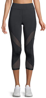 Cushnie et Ochs Nuria Cropped Performance Leggings with Mesh Inserts