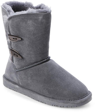 BearPaw Charcoal Abigail Real Fur Toggle Boots