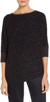 St. John Eyelash Lace Knit Asymmetrical Sweater