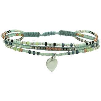 LeJu London - Neutral Trio Bracelet With A Silver Pendant